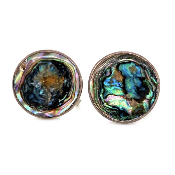 Closeup photo of 925 Sterling Abalone Circle Earrings 7.9g Screw Clips