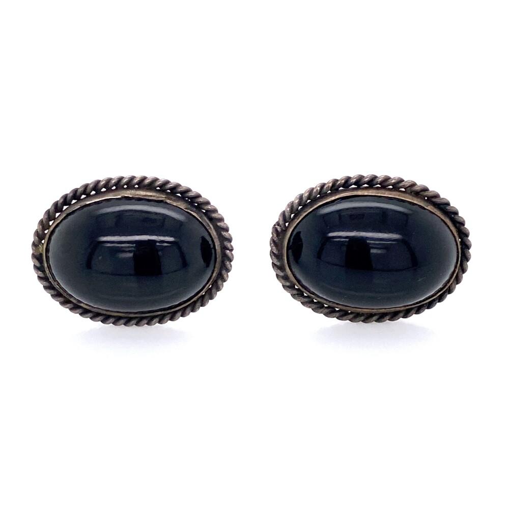 925 Sterling Native Oval Onyx Earrings Rope Design 7.3g