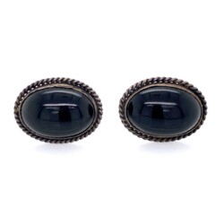 Closeup photo of 925 Sterling Native Oval Onyx Earrings Rope Design 7.3g