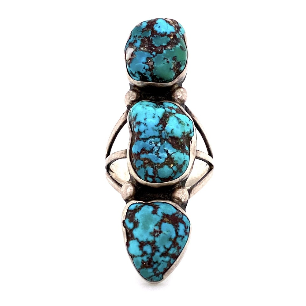 925 Sterling Native 3 Turquoise Nugget Ring 9.1g
