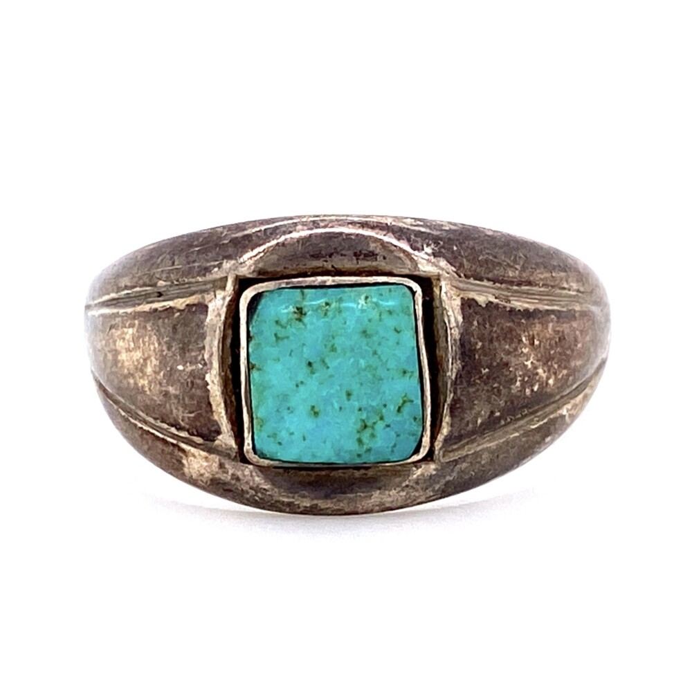 925 Sterling Native Tapered Turquoise Band 4.4g, s9