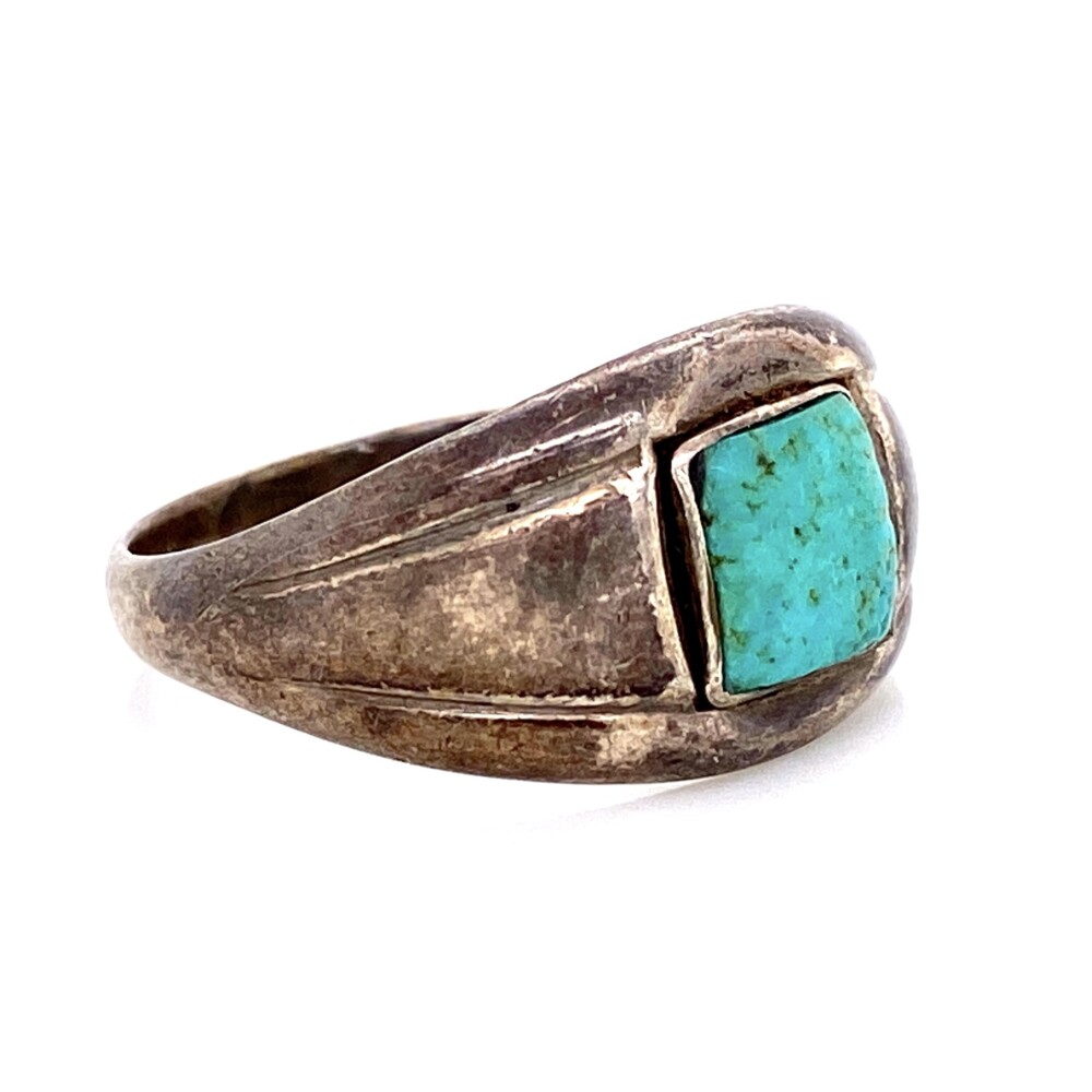 Image 2 for 925 Sterling Native Tapered Turquoise Band 4.4g, s9