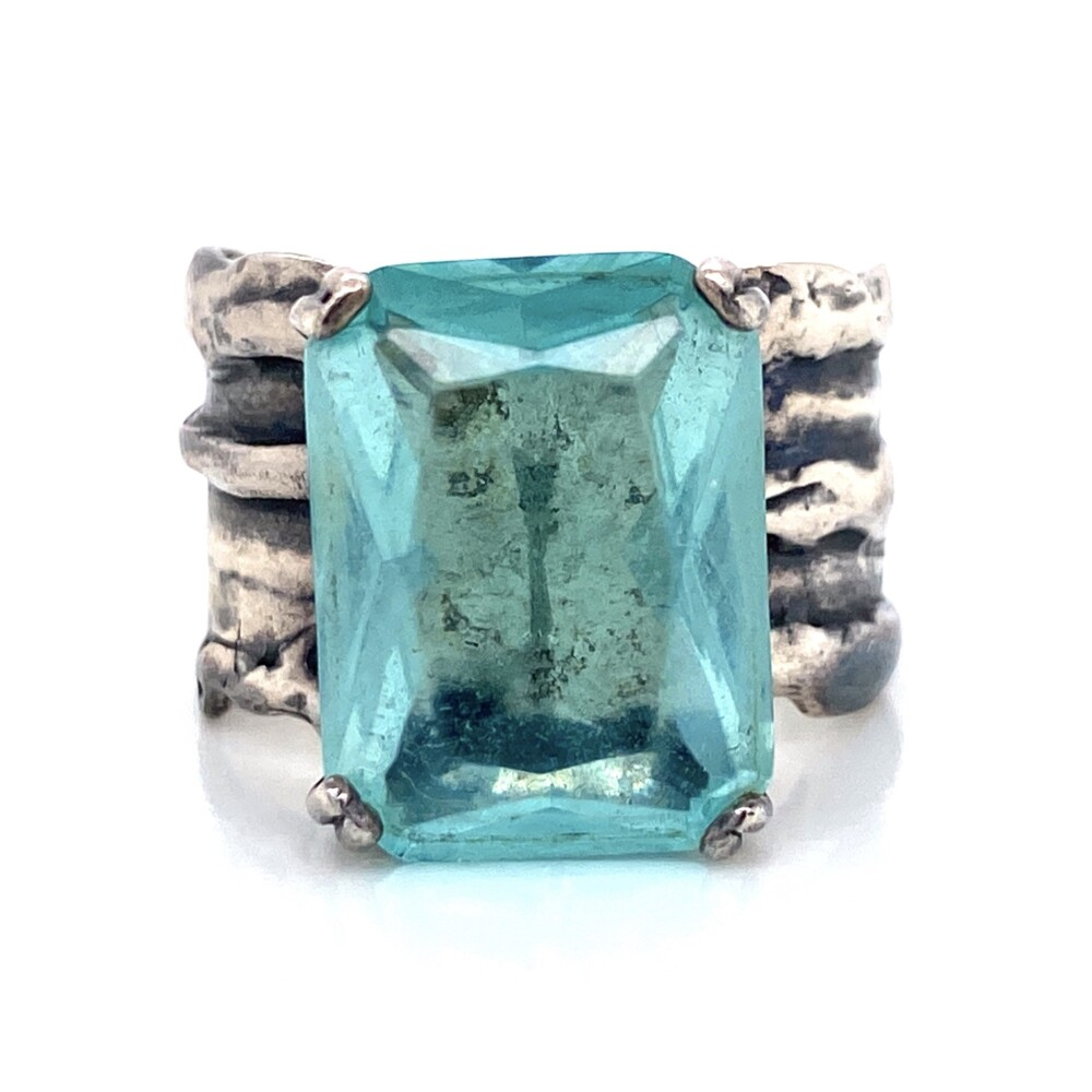 925 Sterling Rustic Band Ring with 10ct Blue Stone 9.8g, s9