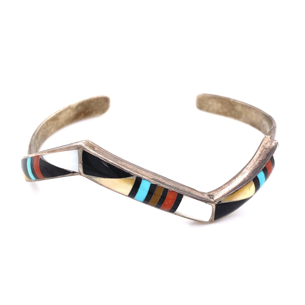 925 Sterling Native ZUNI Gemstone Inlay Cuff 15.9g