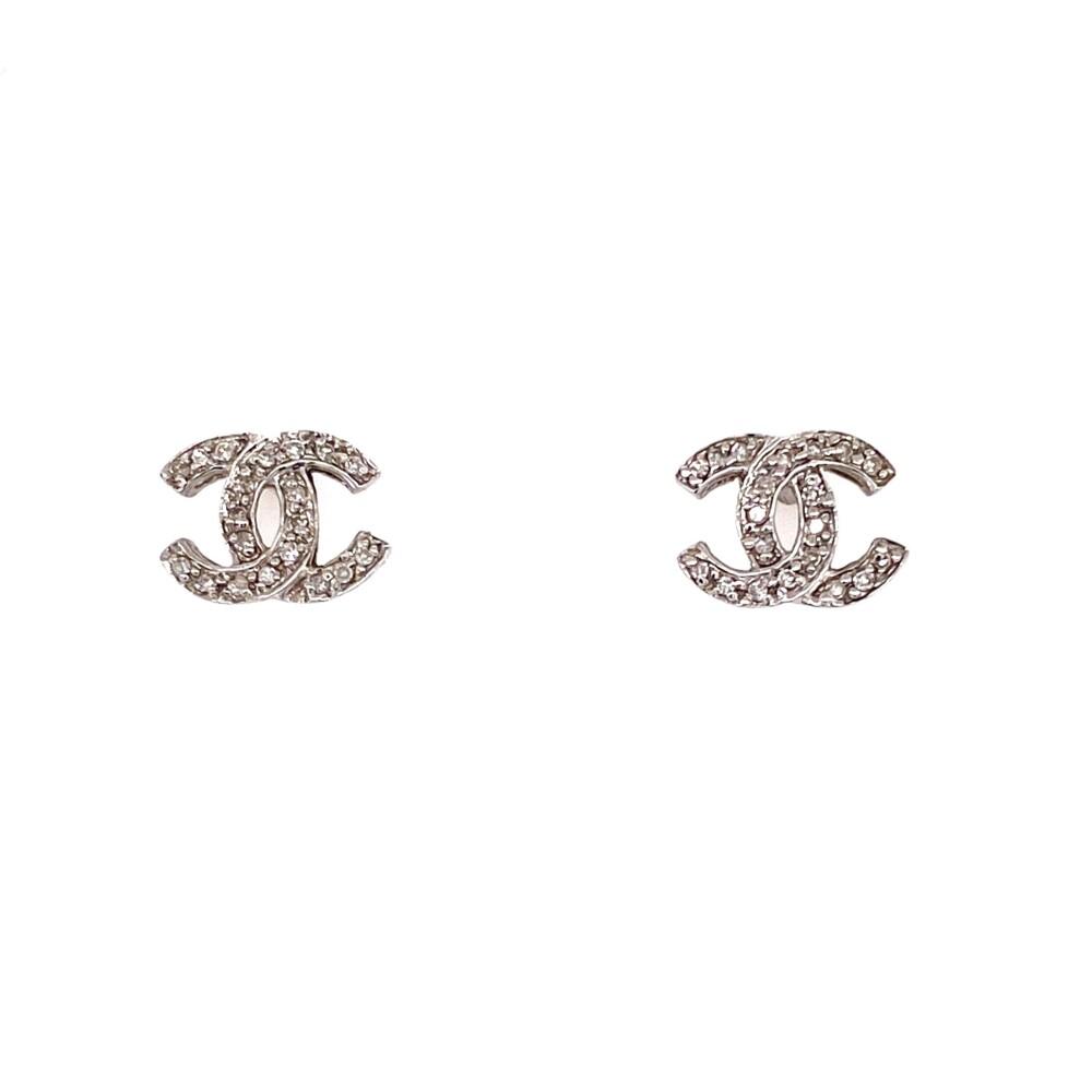 14K WG Chanel Style .20tcw Diamond Earrings 1.5g
