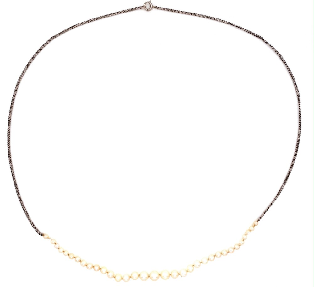 """14K WG Graduated NATURAL Pearls Necklace GIA 4.78-2.32mm 3.3g, 16"""""""