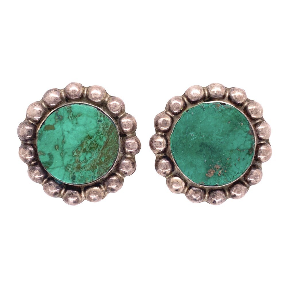 925 Sterling Round Green Turquoise Clip Earrings 18.9g