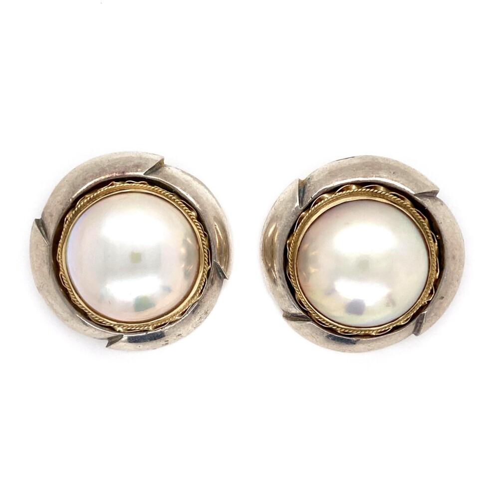 14K & 925 Mabe Pearl Clip Earrings 19.1g
