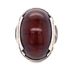 Closeup photo of 925 Sterling Large Dome Amber Ring with Onyx 31g, s9.5