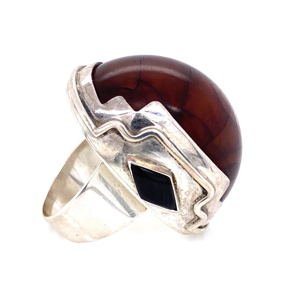 925 Sterling Large Dome Amber Ring with Onyx 31g, s9.5