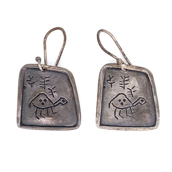 Closeup photo of 925 Sterling Engraved Turtle Tablet Earrings 7.8g