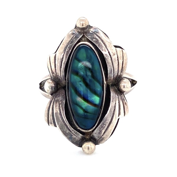 Closeup photo of 925 Sterling Native Abalone Leaf Design Ring 3.9g