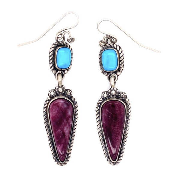 Closeup photo of 925 Sterling Turquoise & Sugilite Drop Earrings 12.1g