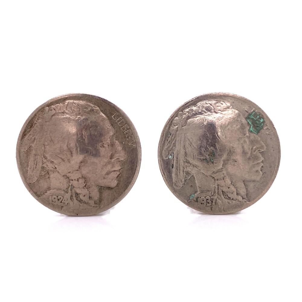 Silver Indian Head Buffalo Nickel Clip Earrings 12.6g