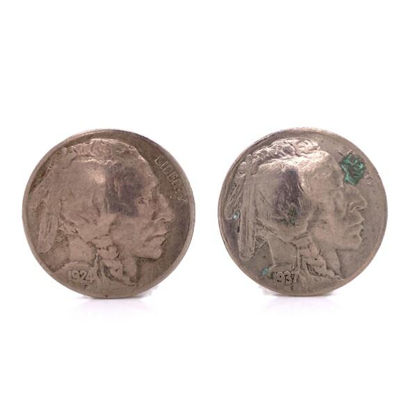 Closeup photo of Silver Indian Head Buffalo Nickel Clip Earrings 12.6g