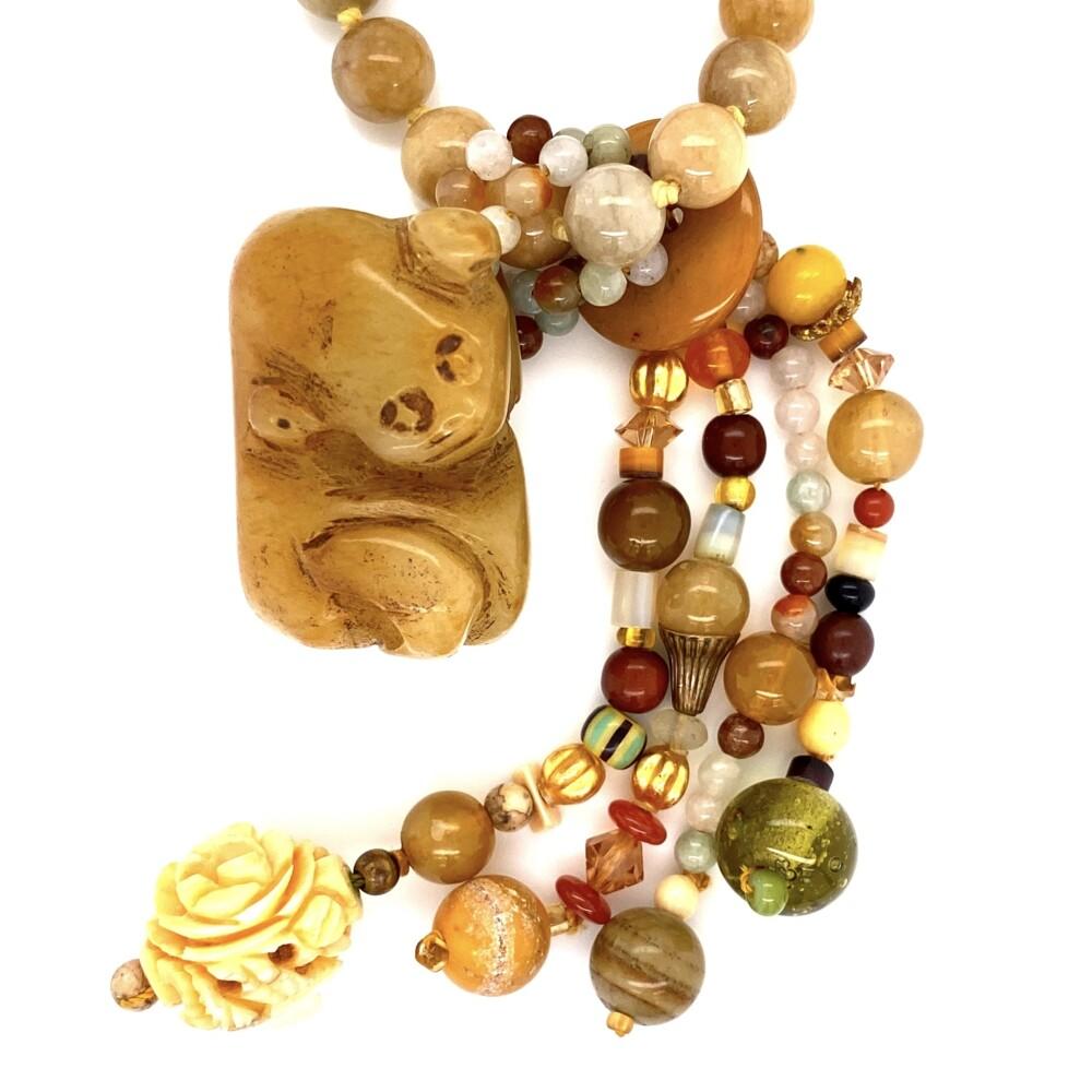 "14K YG Carved Soapstone, Jade, Gemstone Bead Necklace 144.7g, 32"""