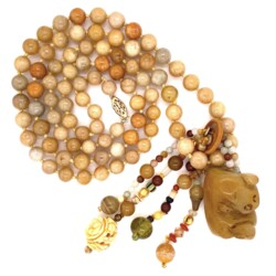 "Closeup photo of 14K YG Carved Soapstone, Jade, Gemstone Bead Necklace 144.7g, 32"""