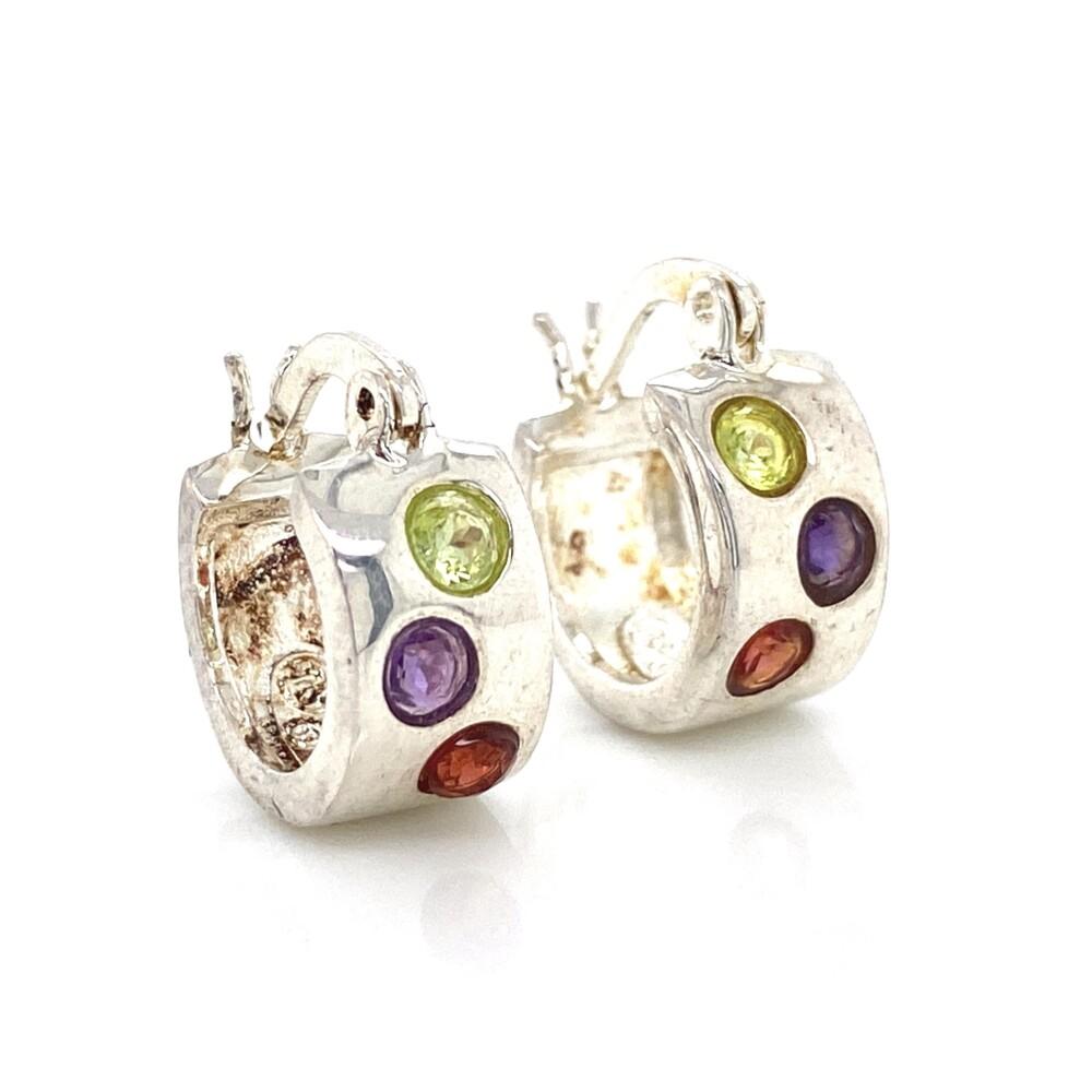 Image 2 for 925 Sterling Gemstone Huggie Hoop Earrings 5.2g