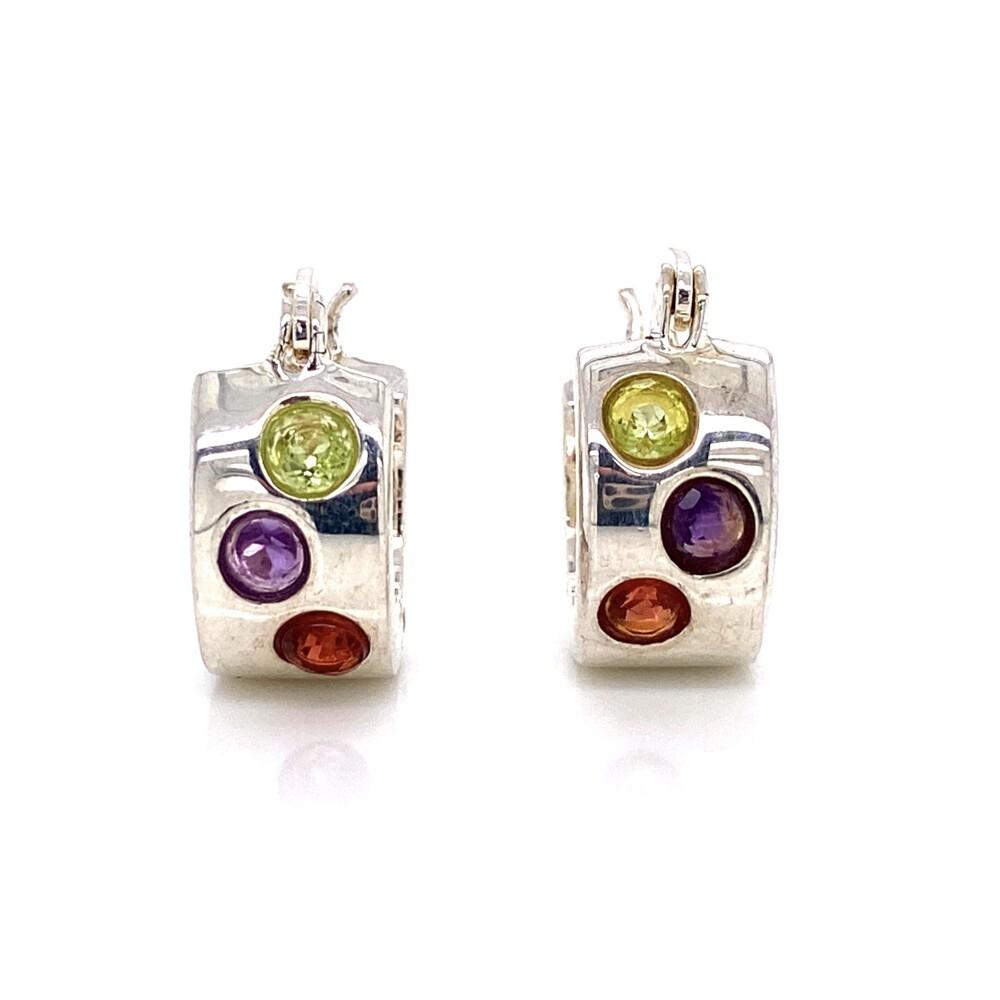 925 Sterling Gemstone Huggie Hoop Earrings 5.2g