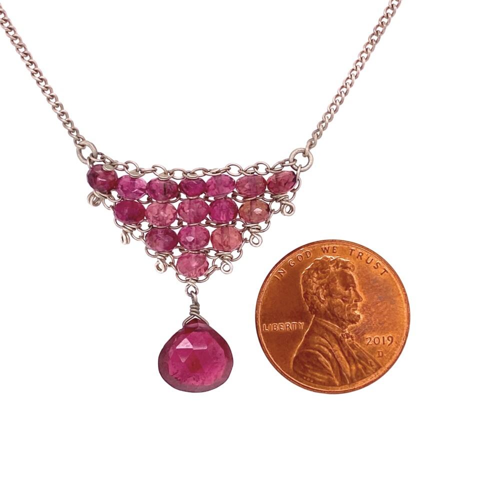 "Image 2 for 925 Sterling Rubelite Pink Tourmaline Cluster Necklace 5.1g, 16"""