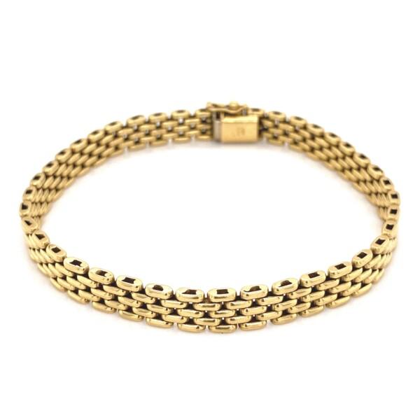 "Closeup photo of 18K YG Italian 5 Link Brick Bracelet 22.5g, 7.3"""
