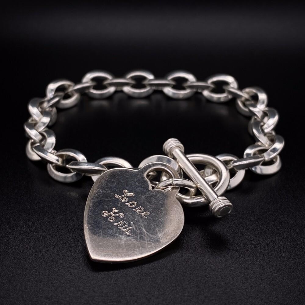 Image 2 for 925 Sterling Oval Link Bracelet Toggle Clasp 34.6g, 8.25in