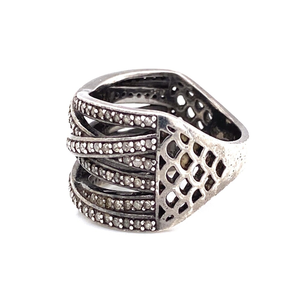 Image 2 for 925 Sterling 6 Row .60tcw Diamond Crossover Ring 6.9g, s7