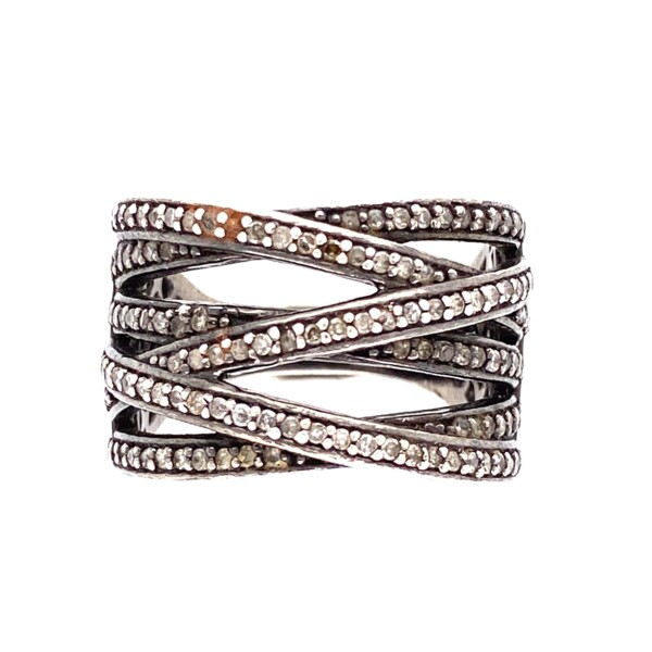 Closeup photo of 925 Sterling 6 Row .60tcw Diamond Crossover Ring 6.9g, s7