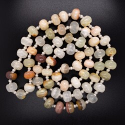 """Closeup photo of Agate & Seed Pearl Beaded Necklace 74.0g, 26"""""""