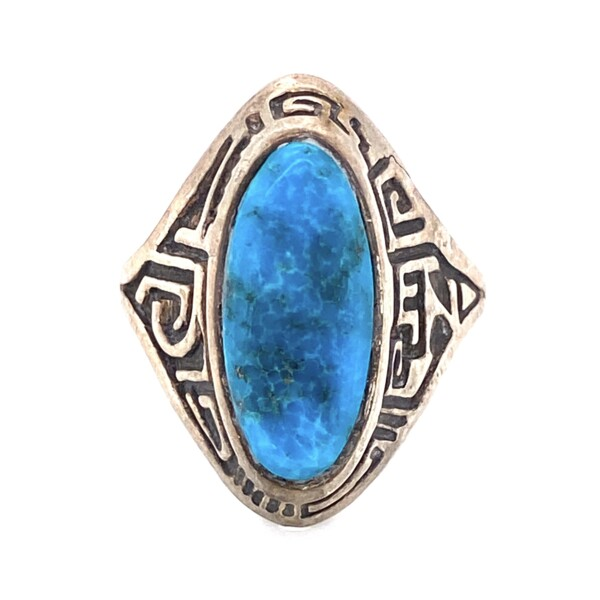 Closeup photo of 925 Sterling Engraved Turquoise Ring 8.4g, s9