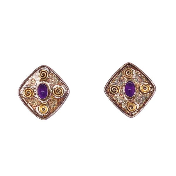 Closeup photo of 925 Sterling Stud Earrings with Amethyst 2.7g