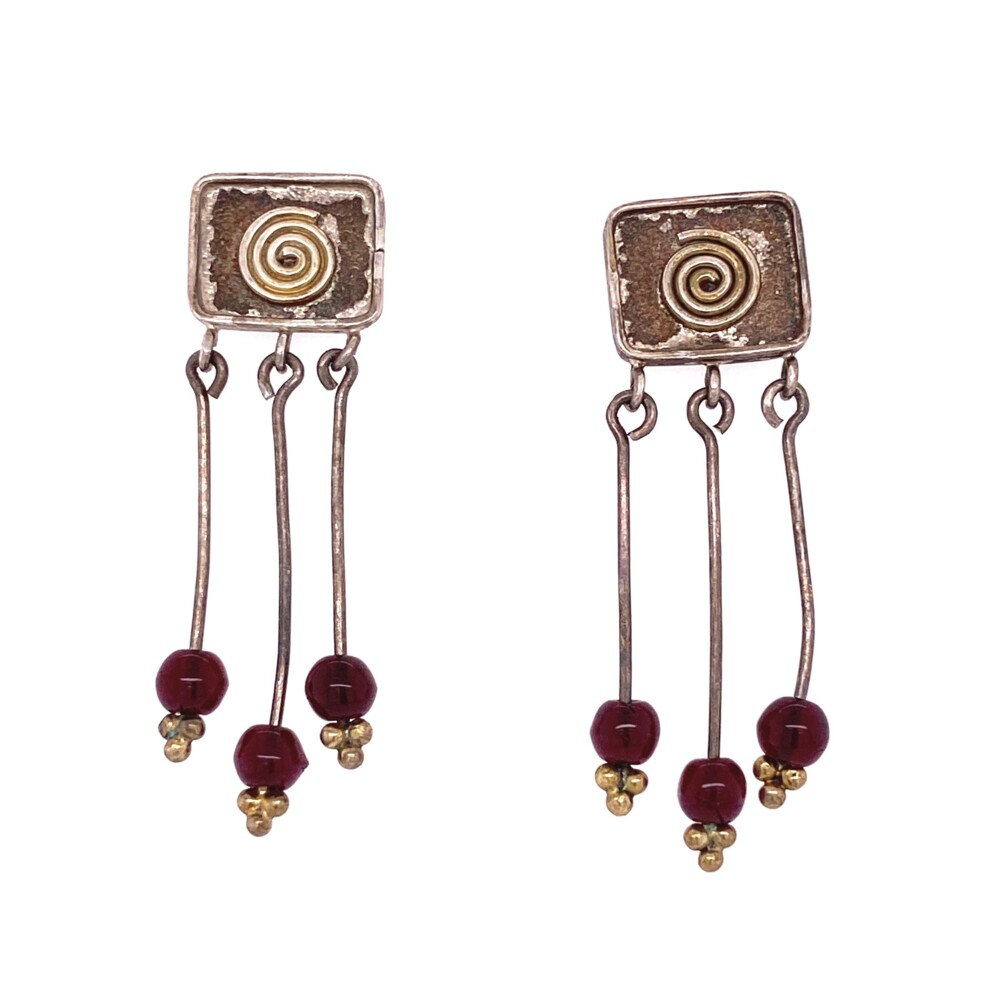 925 Sterling Swirl & Red Glass Chandelier Earrings 3.7g
