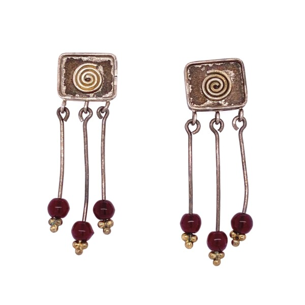 Closeup photo of 925 Sterling Swirl & Red Glass Chandelier Earrings 3.7g