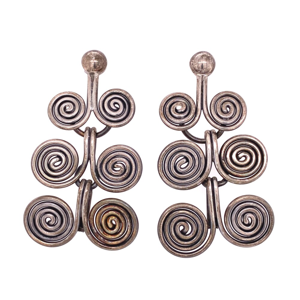 925 Sterling 6 Swirl Chandelier Earrings 15.9g