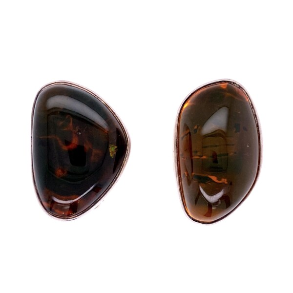 Closeup photo of 925 Sterling Freeform Amber Clip Earrings 17.0g