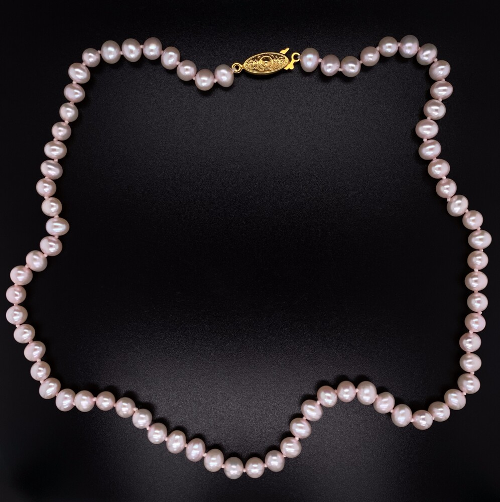 6mm Freshwater Pearl Necklace GF YG Clasp 20.7g, 18""