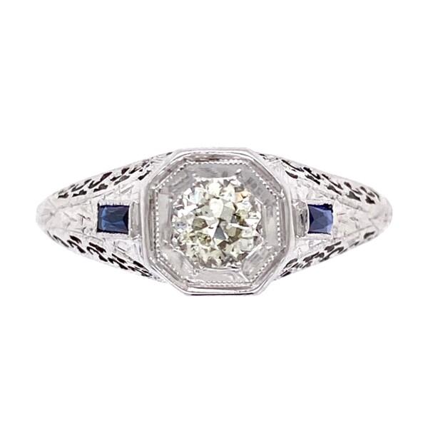 Closeup photo of 18K WG Art Deco .45ct OEC Diamond & Sapphire Filigree Ring, s7