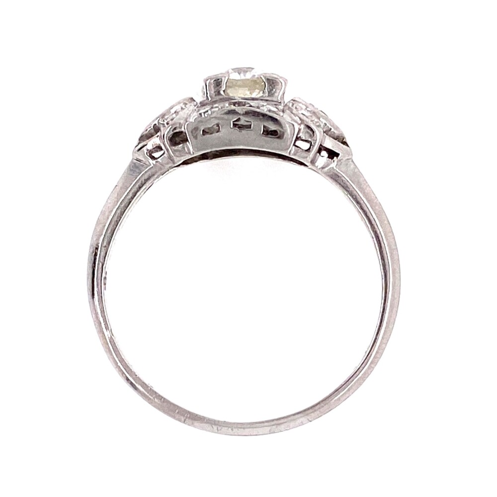 Platinum Art Deco .32 OEC Diamond Ring with .14tcw Sides
