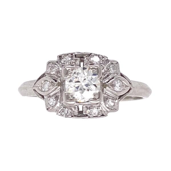 Closeup photo of Platinum Art Deco .32 OEC Diamond Ring with .14tcw Sides