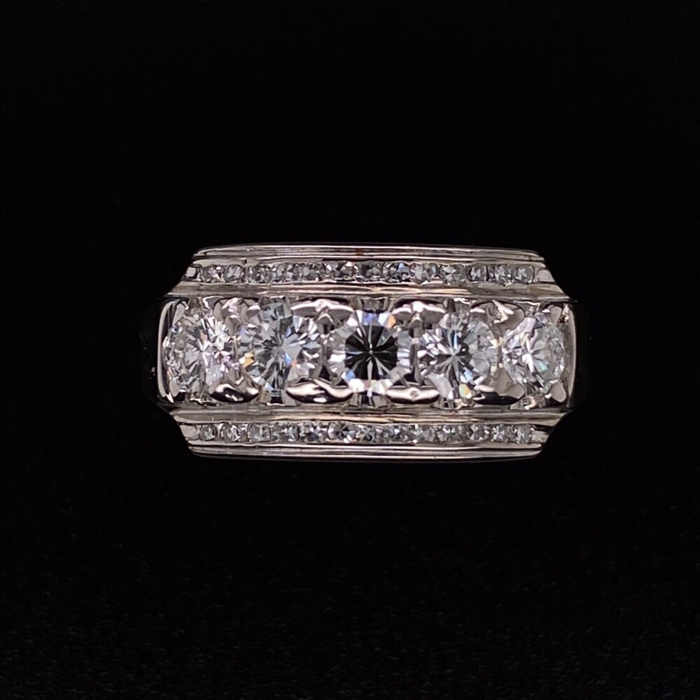 14K WG 1960's Diamond Bar Ring .90tcw, s7
