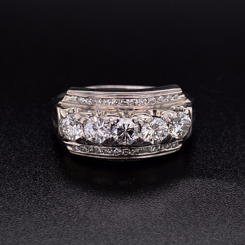 Image 2 for 14K WG 1960's Diamond Bar Ring .90tcw, s7