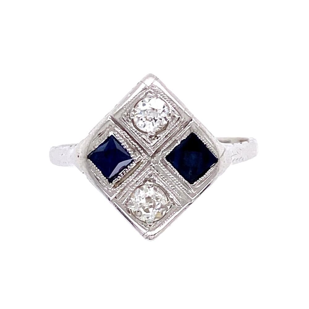 18K WG Art Deco Checkerboard Ring Diamonds & Sapphires, s6.75