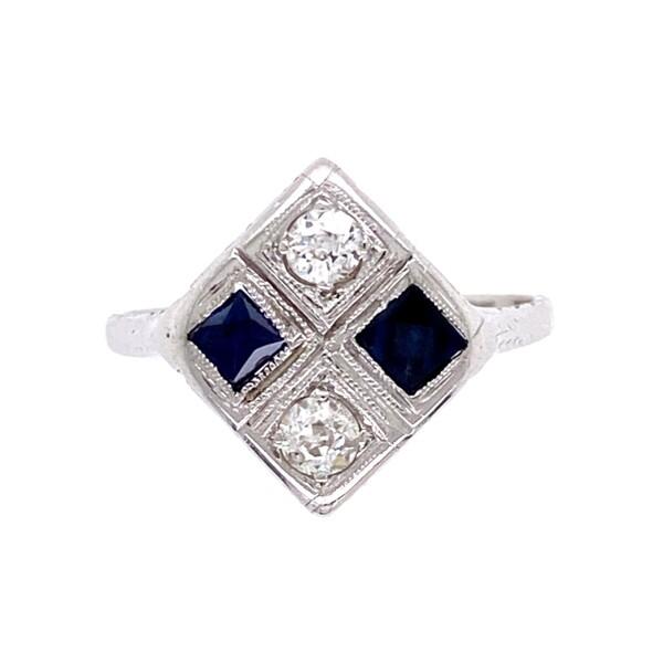Closeup photo of 18K WG Art Deco Checkerboard Ring Diamonds & Sapphires, s6.75