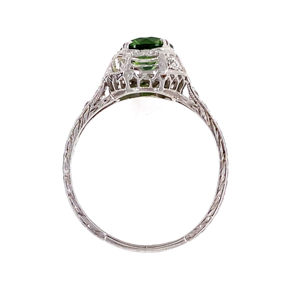 Platinum Art Deco 1.13ct Demantoid Garnet & Diamond Ring, s7