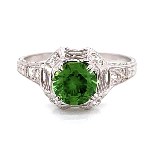 Closeup photo of Platinum Art Deco 1.13ct Demantoid Garnet & Diamond Ring, s7