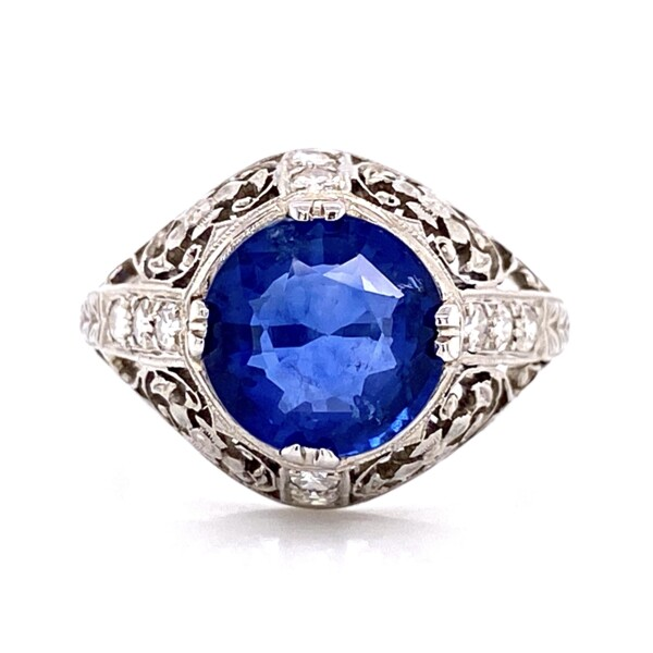 Closeup photo of Platinum Art Deco 3.10ct Round Sapphire & .15tcw Diamond Ring, sz5.5