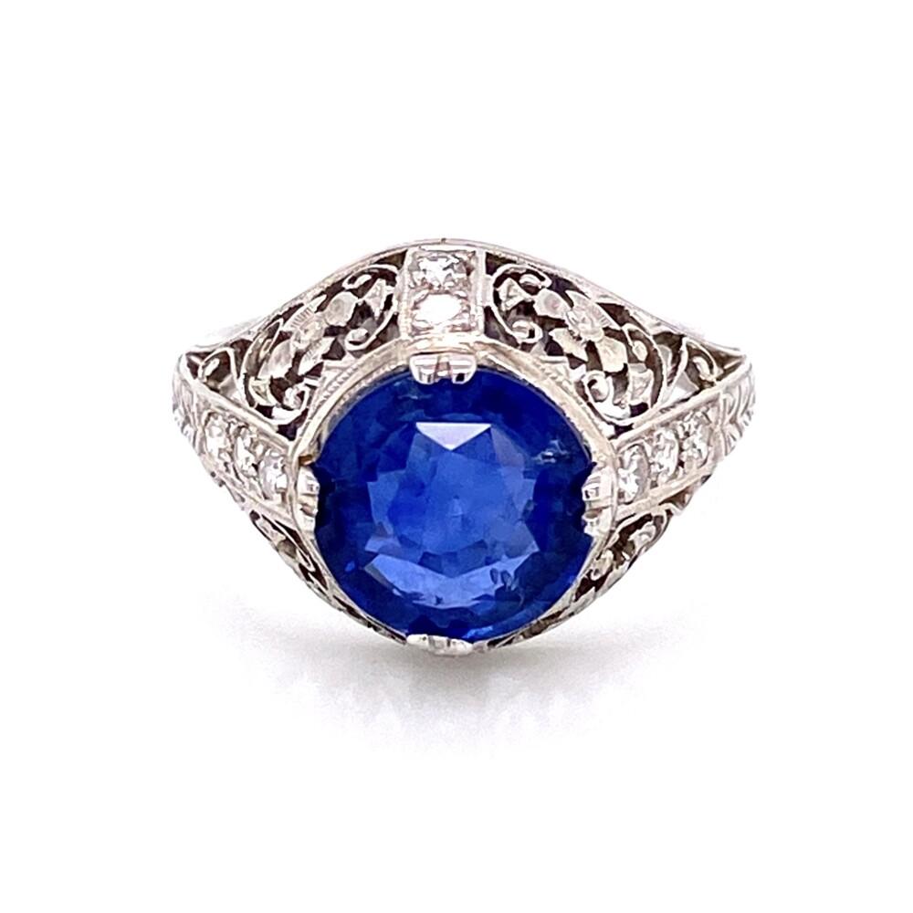 Platinum Art Deco 3.10ct Round Sapphire & .15tcw Diamond Ring, sz5.5