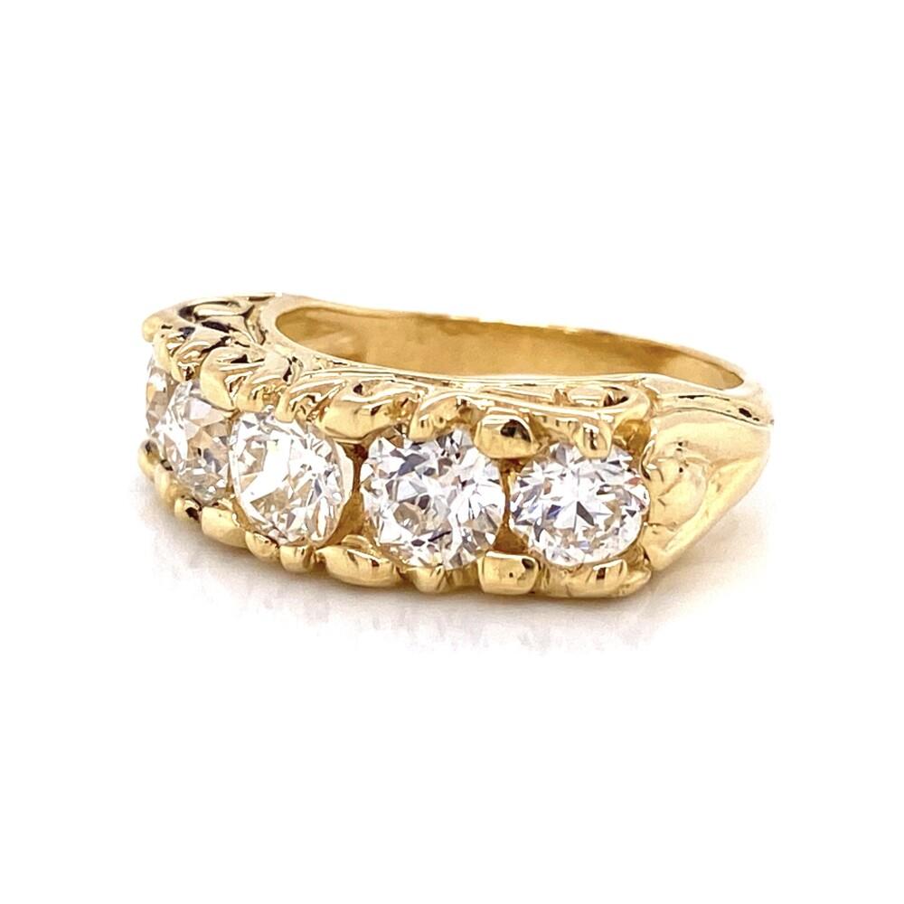 18K YG Engraved 5 Round Diamond Band 2.61tcw