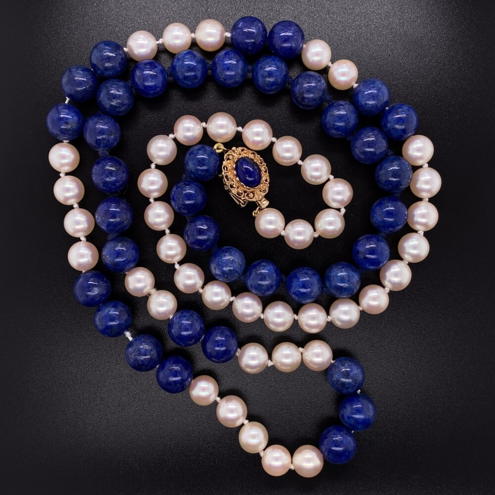 14K YG Lapis Bead & Pearl Strung Necklace 29""