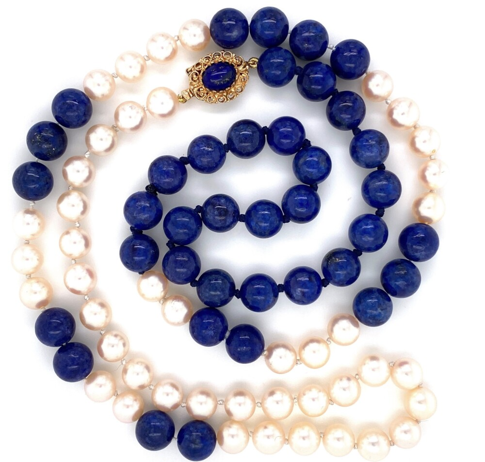 """Image 2 for 14K YG Lapis Bead & Pearl Strung Necklace 29"""""""